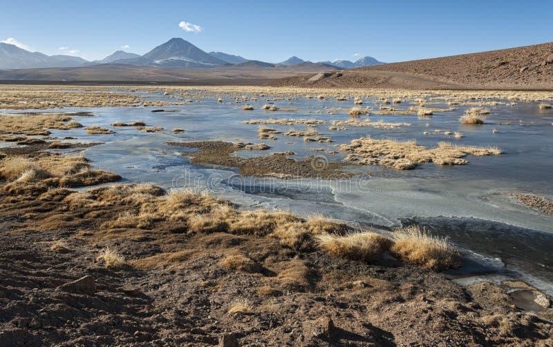 Volcan actif Putana également connu sous le nom de Jorqencal ou Machuca près de Vado Rio Putana dans le désert d'Atacama, Chili photo libre de droits