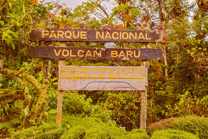 Volcan Baru National Park sign in Panama. Sign into Volcan Baru National PArk inear Boquete in Panama stock photo