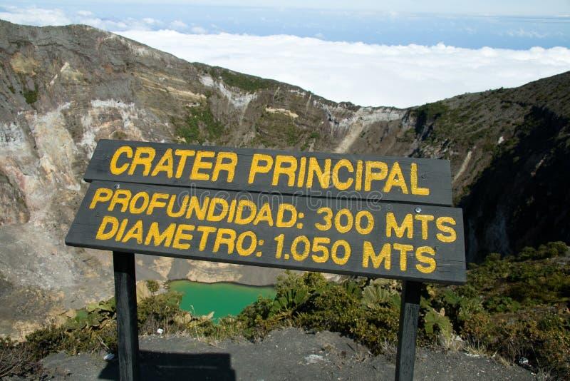 Cratère de canalisation de volcan d'Irazu images stock