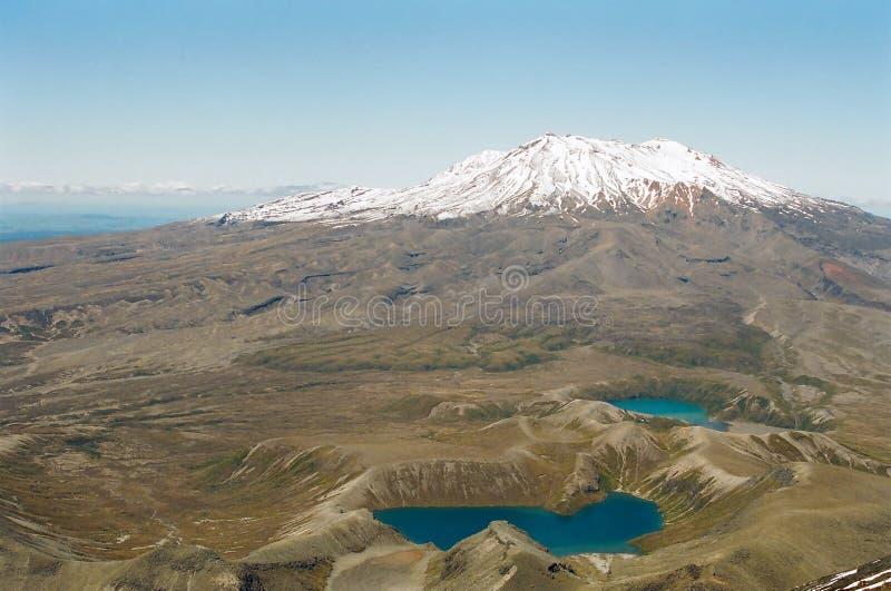 Volcan de Tongariro et lacs, Nouvelle Zélande photo stock