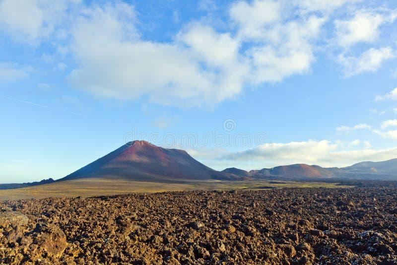 Volcan en parc national de timanfaya à Lanzarote images libres de droits