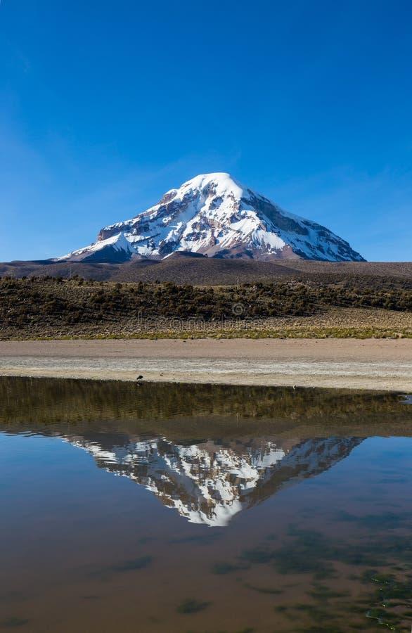 Volcan et lac Huayñacota Sajama La Bolivie andine image libre de droits
