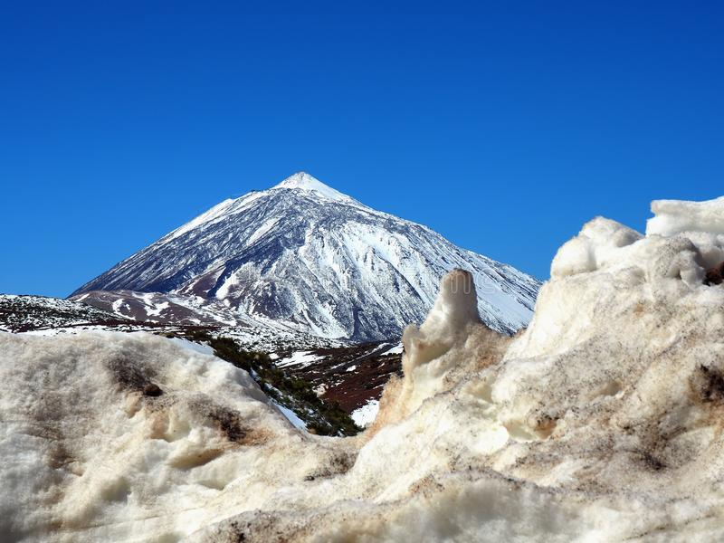 The volcan  Teide on Tenerife with a lot of snow stock photo