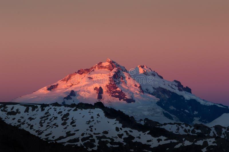 Volcan Tronador orange sunrise royalty free stock photo