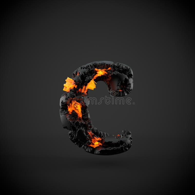 Volcanic alphabet letter C lowercase isolated on black background. royalty free stock photos