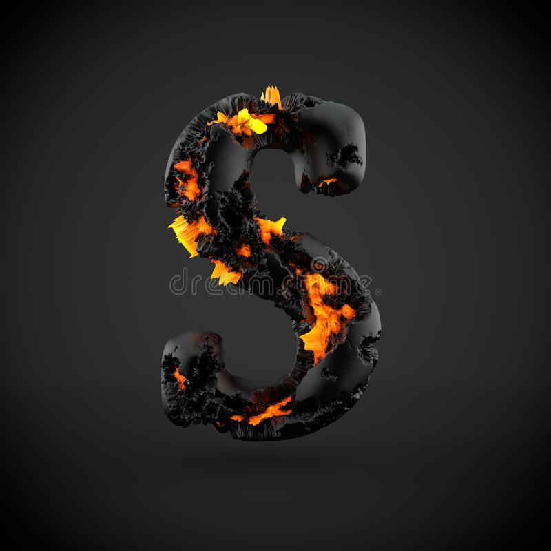 Volcanic alphabet letter S uppercase isolated on black background. stock images