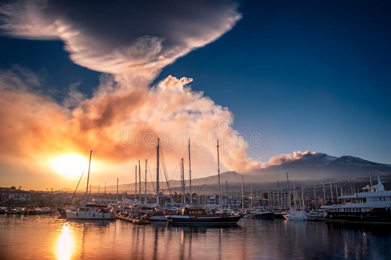 Volcanic ash plume at sunset royalty free stock photo