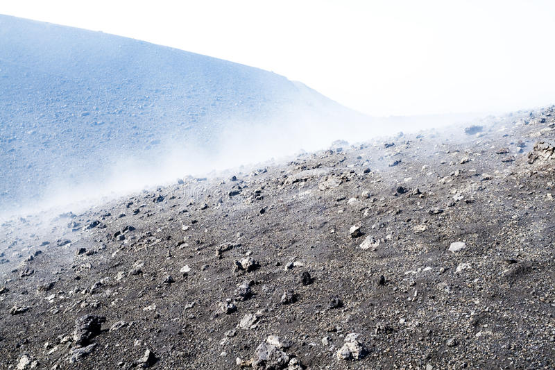 Volcanic ash surface, clouds stock images