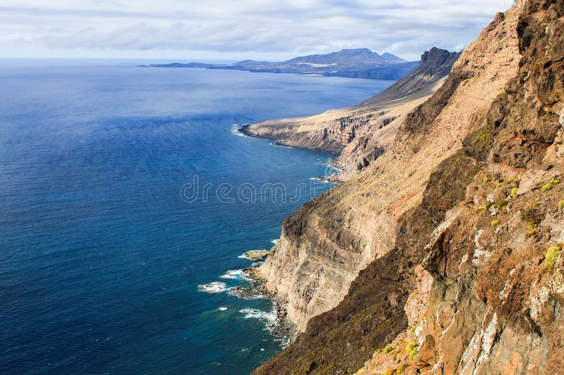 Volcanic cliffs of gran canaria royalty free stock image