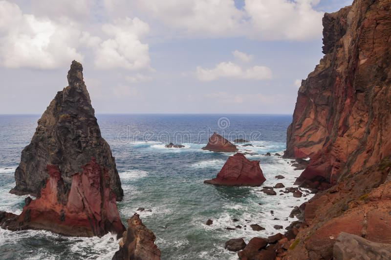 Volcanic Cliffs of Ponta de Sao Lourenco peninsula, Madeira island, Portugal royalty free stock photography