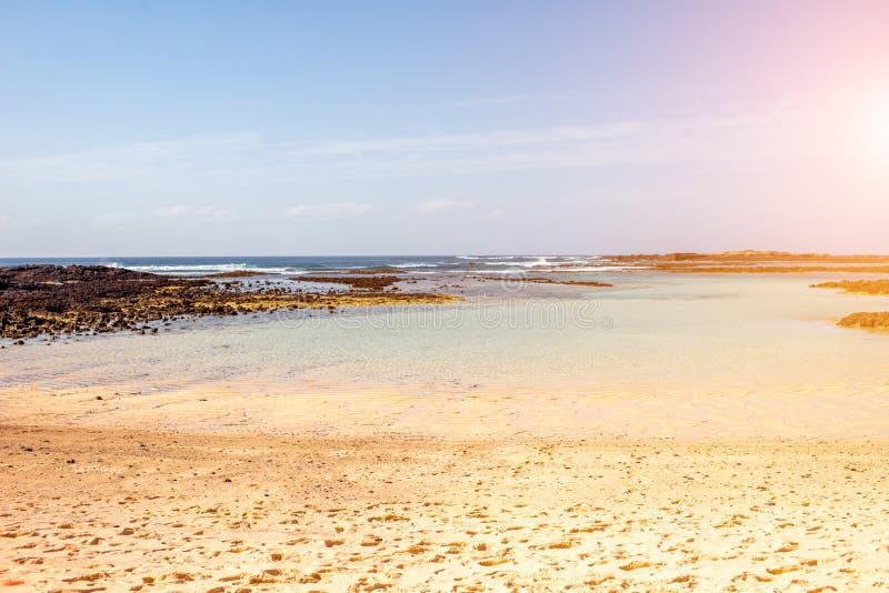 Volcanic coast on Fuerteventura island near El Cotillo village royalty free stock photography