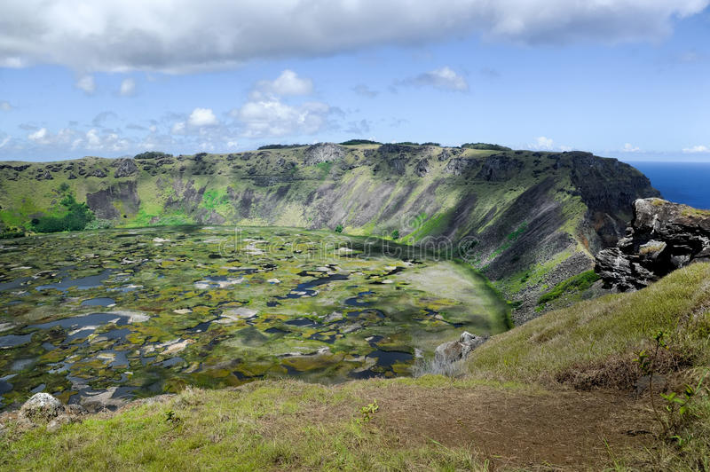 The Volcanic Crater on Easter Island royalty free stock photos