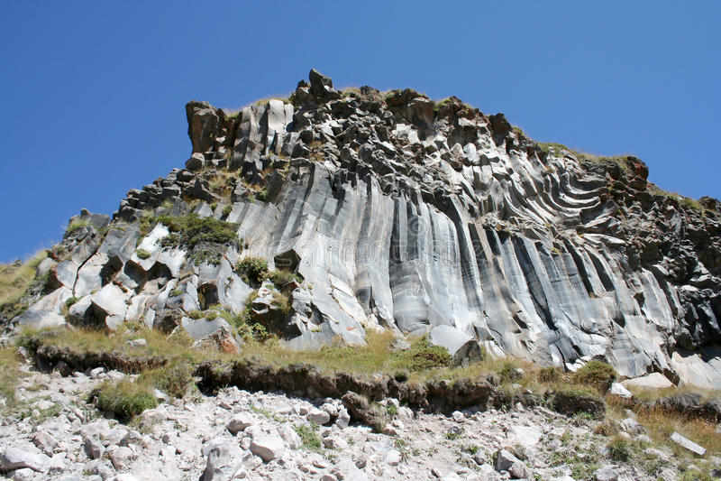 Volcanic education - rocks. Tracking to Prielbrusye, the Caucasus, Russia stock photo