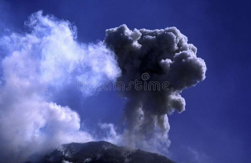 Volcanic eruption. At the volcano peak stock images