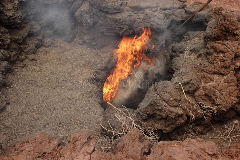 Volcanic eruption. In the Timanfaya National Park, Lanzarote stock images