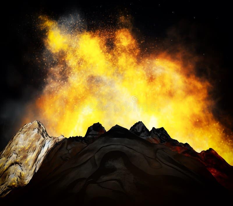 Volcanic eruption. Huge volcanic eruption on land stock images