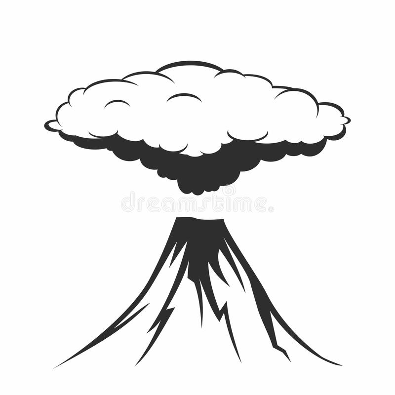 Volcanic eruption with clouds of smoke stock illustration
