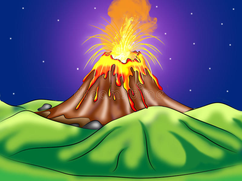 Volcanic Eruption Digital Illustration stock illustration