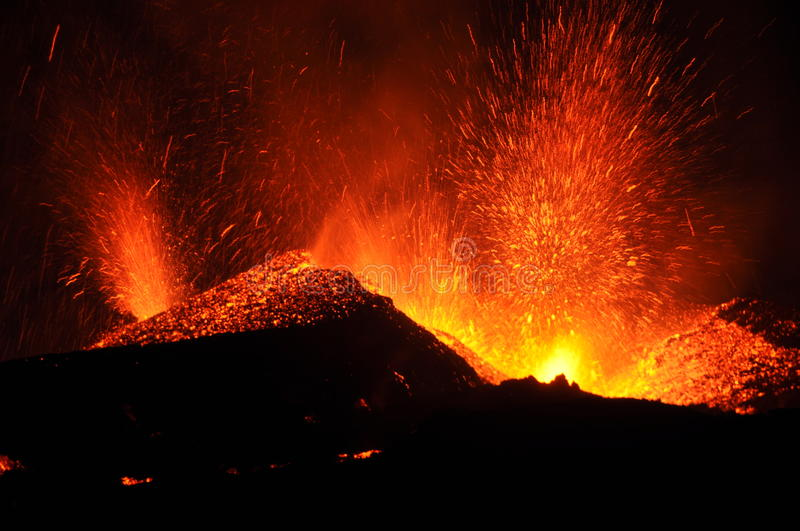 Volcanic eruption of the Eyjafjallajokull glacier in Iceland royalty free stock photos