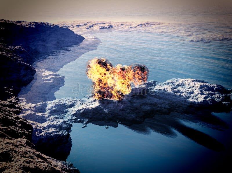 Volcanic eruption on island vector illustration
