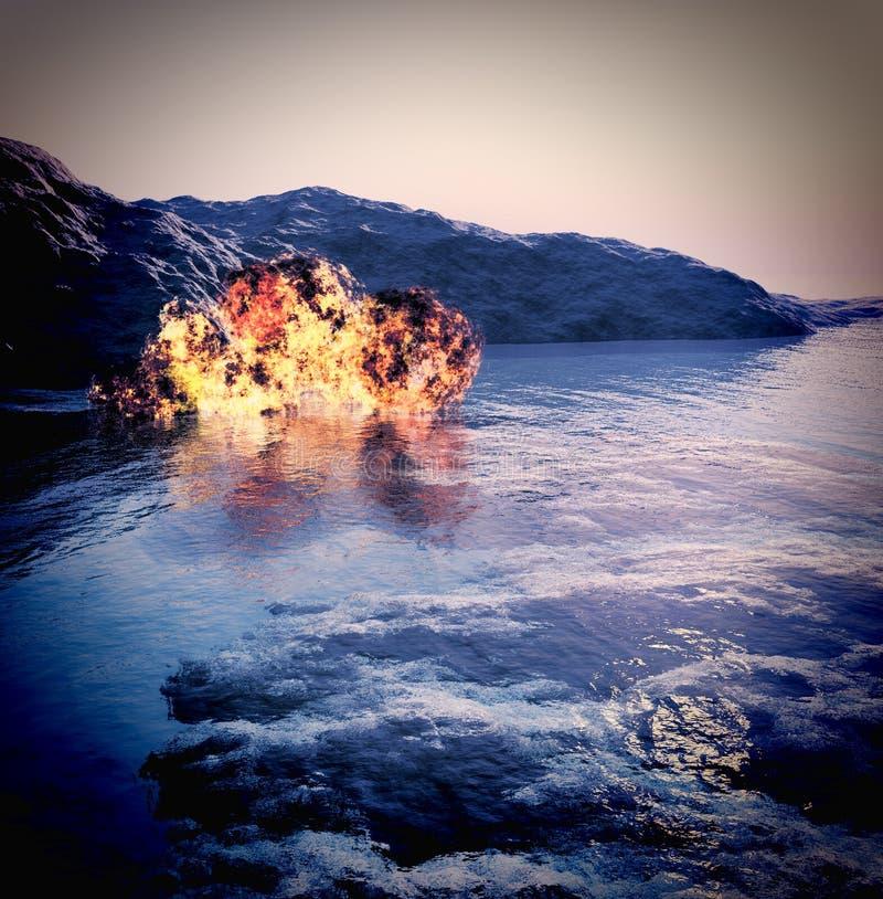 Volcanic eruption on island royalty free illustration