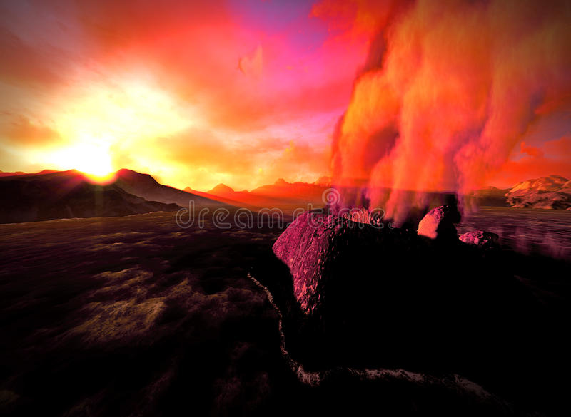 Volcanic eruption on island. See my other works in portfolio royalty free stock photos