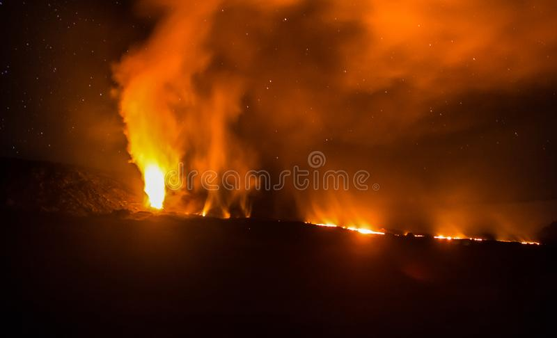 Volcanic eruption at Piton de la Fournaise on Reunion island. In 2015 royalty free stock image