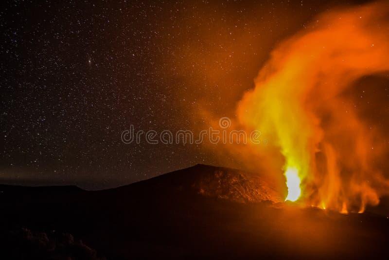 Volcanic eruption at Piton de la Fournaise. On Reunion island royalty free stock photos
