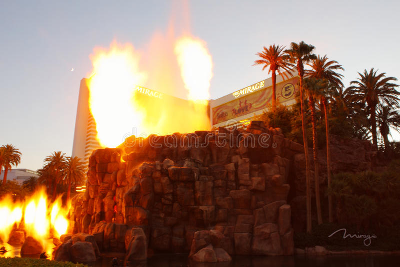 Volcanic eruption show. July 24,2012 Las Vegas U.S.A. volcanic eruption show in the night royalty free stock image