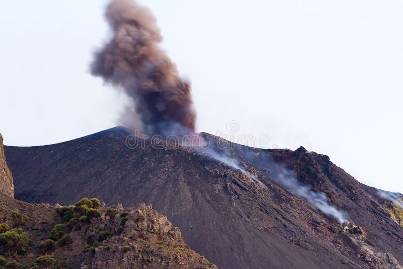 Volcanic eruption, Stromboli. Volcanic eruption in Stromboli island, Italy stock images