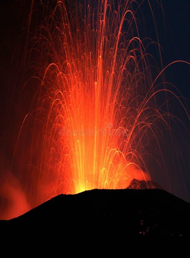 Volcanic eruption. At volcano stromboli royalty free stock photo