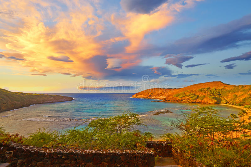 Hawaii Hanuman Bay,. Volcanic Hanuman Bay sunrise, panorama, Hawaii royalty free stock photos