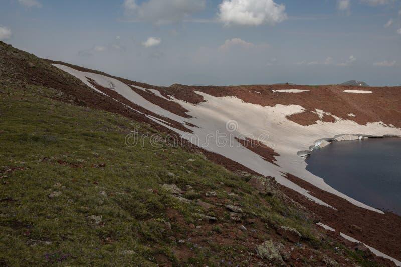 Lake At the mountains volcanic Lake. Volcanic Lake at the mountains Armenia Armenian mountains Ararat Mountains Geghama Mountains stock image