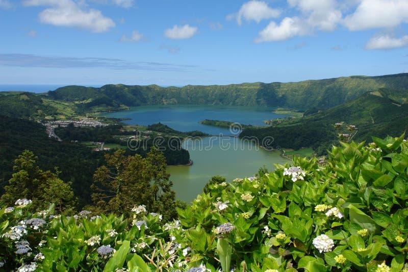 Volcanic lakes on Ponta Delga royalty free stock images