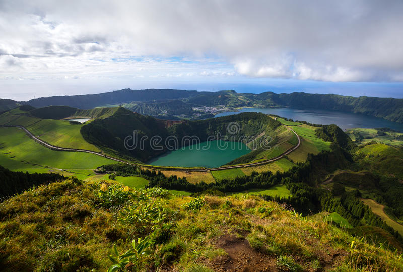 Volcanic Lakes from Seven Cities stock image