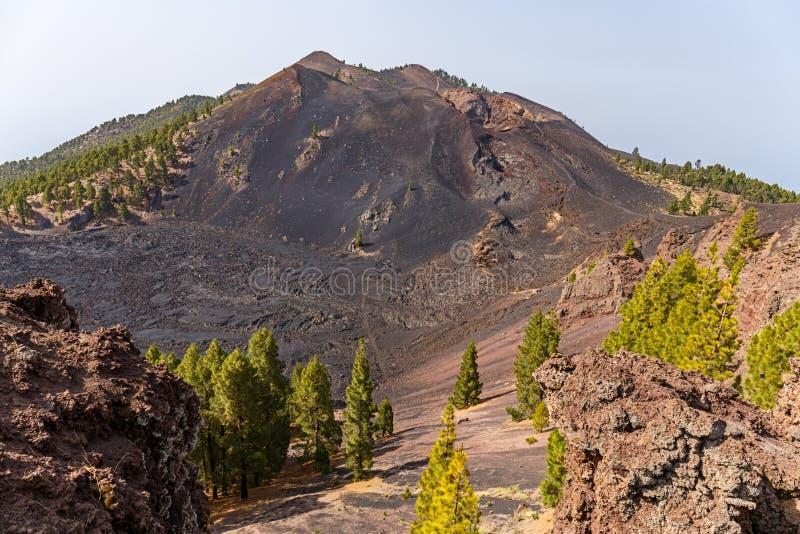 Volcanic landscape along Ruta de los Volcanes, beautiful hiking path over the volcanoes, La Palma, Canary Islands. Volcanic landscape along   Ruta de los stock image