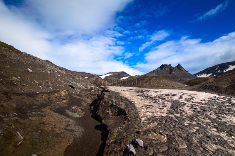 Volcanic landscape. Avachinsky Volcano - active volcano of Kamchatka Peninsula. Russia, Far East. royalty free stock photography