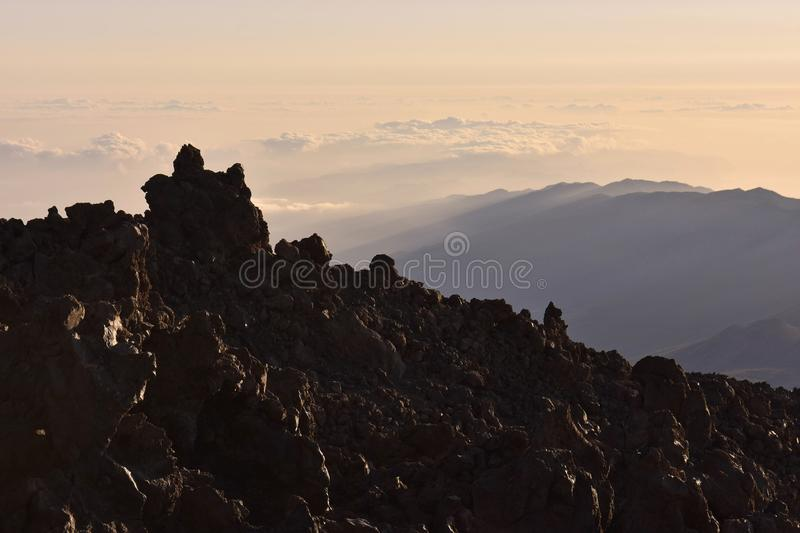 Volcanic landscape at dawn Tenerife Canary Islands stock photos