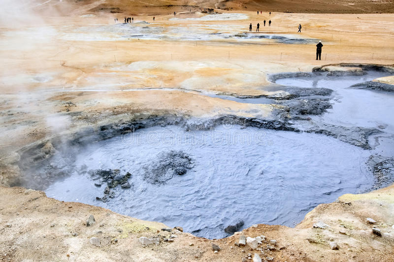 Volcanic landscape with boiling mud, Hverir valley - Namafjall - Iceland royalty free stock photo