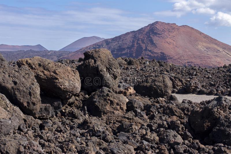 Volcanic landscape of Janubio mountains at Lanzarote stock photography