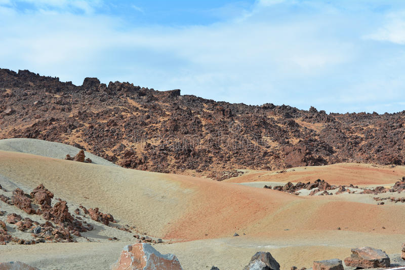 Volcanic landscape on Teide, Tenerife, Canary Islands, Spain stock photos