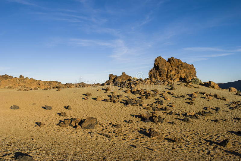 Volcanic Landscape (Teide - Tenerife). Volcanic landscape - no people - Teide National Park, Tenerife, Canary Islands, Spain royalty free stock image