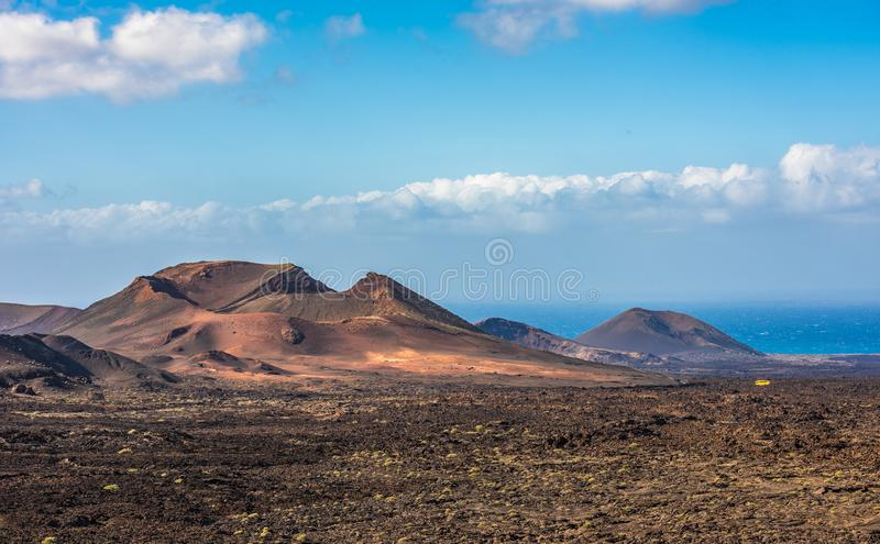 Volcanic landscape at Timanfaya National Park, Lanzarote Island, Canary Islands, Spain royalty free stock image