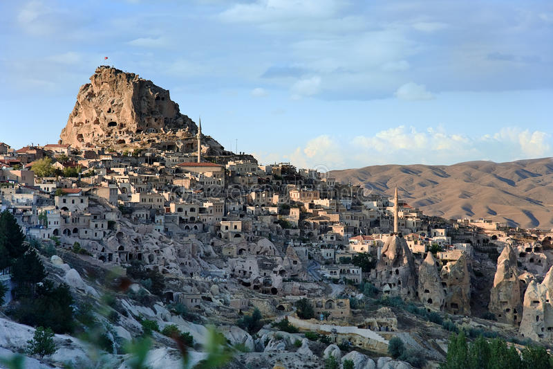 Volcanic landscape of Uchisar stock photos