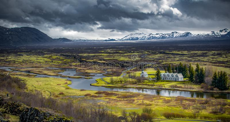 Icelandic ring road that goes all the way around royalty free stock images