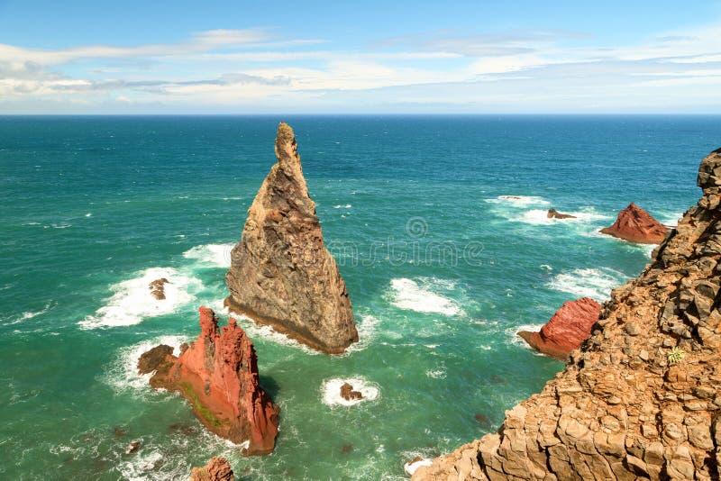 Volcanic lava rocks on Ponta de Sao Lourenco peninsula, Pedra Furada, Madeira island, Portugal royalty free stock image