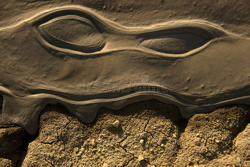 Volcanic mud in light of sunset. In the vrancea romania royalty free stock photography