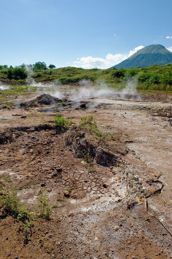 Volcanic mud pots stock photo