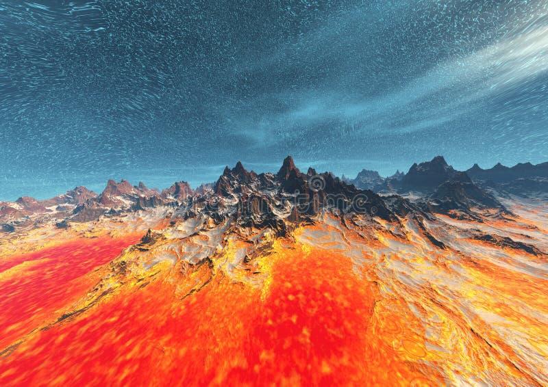 Download Volcanic planet stock illustration. Illustration of unreal - 513167