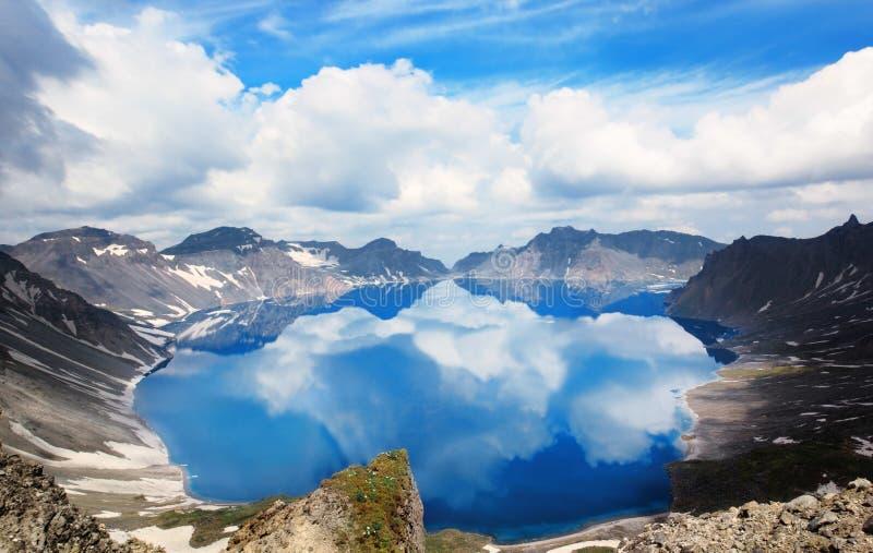 Volcanic rocky mountains and lake Tianchi, Changbaishan, China royalty free stock image
